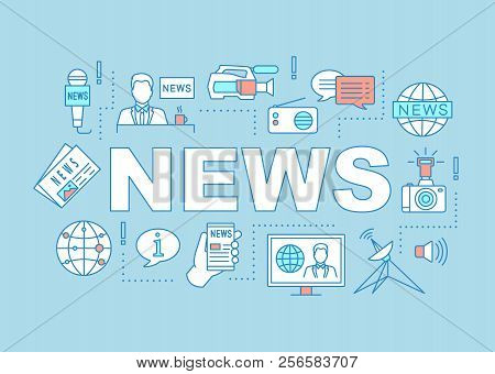 News Broadcasting Word Concepts Banner. Mass Media. Journalism. Newscasting. Isolated Lettering Typo