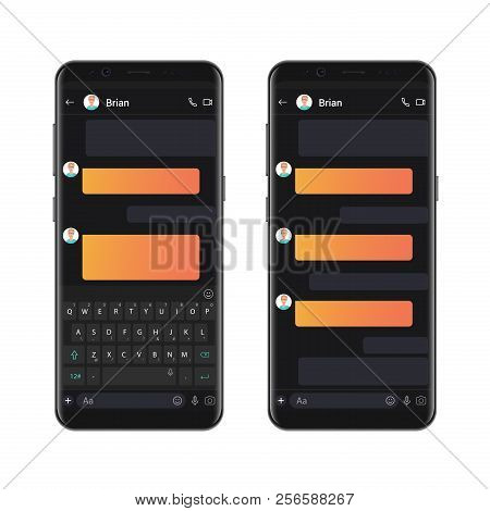 Smartphone Dark Style Chatting Template With Empty Chat Bubbles. Vector Sms Chat Mockup Dialogues Co