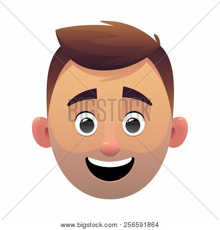Young Man Head Avatar Cartoon Face Character Vector