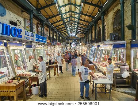 Athens, Greece - July 2, 2018. Butchers In Front Of His Stalls In Varvakios, Central Market Of Athen