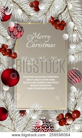 Christmas Card With Balls And Fir Branches With Space For Text. Vector Christmas Design For Greeting
