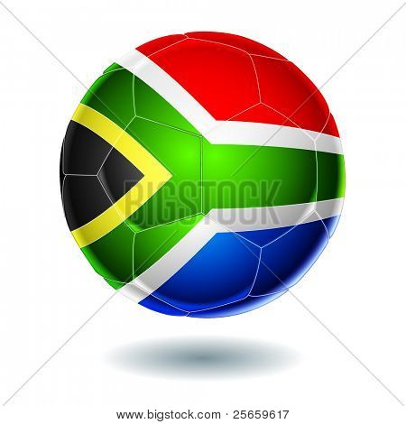 Soccer ball with the flag of South Africa.