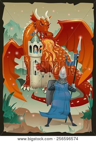 Fable Scene With Dragon, Medieval Castle, Princess And Knight. Flat Vector Illustration, Vertical.