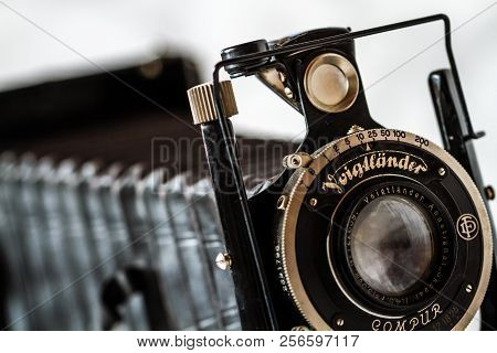ESKISEHIR , TURKEY - AUGUST 28, 2018: Antique Voigtlander, Compur folding camera on marble