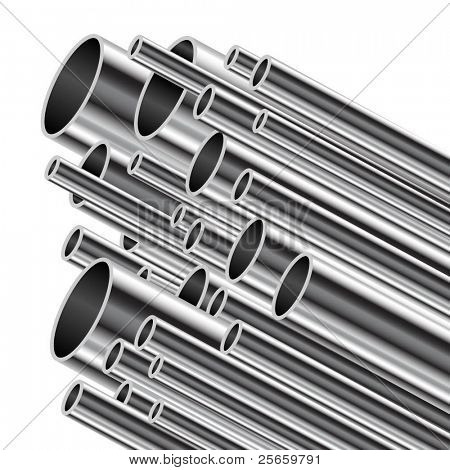 Metal tube on a white background. Vector illustration.