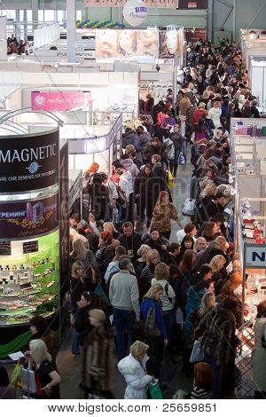 KIEV, UKRAINE - FEB 9: International exhibition of perfumery and cosmetics