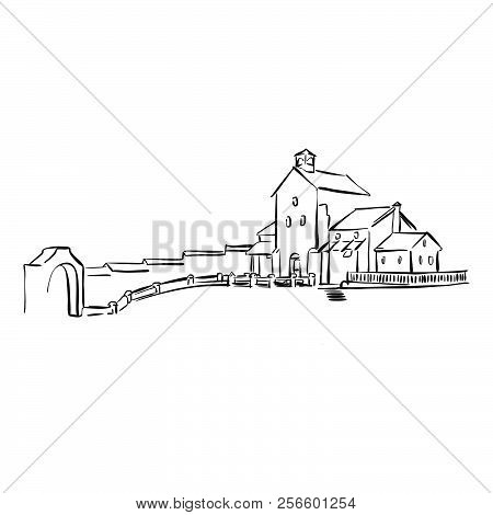 Old Yard Drawing. Hand-drawn Vector Sketch. Business Concept Design.