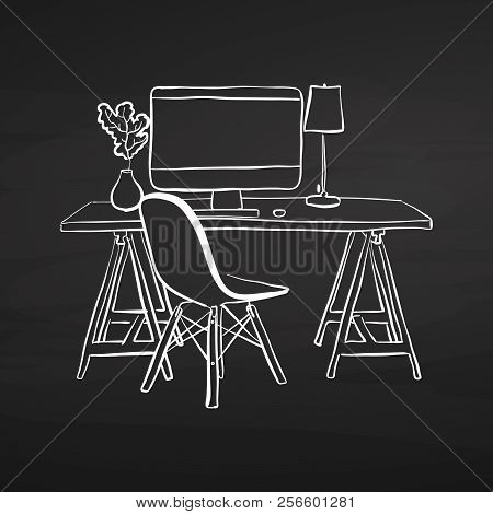 Office Desk Drawing On Chalkboard. Hand-drawn Vector Sketch. Business Concept Design.