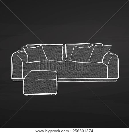 Couch Drawing On Chalkboard. Hand-drawn Vector Sketch. Business Concept Design.