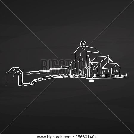 Farm House Drawing On Chalkboard. Hand-drawn Vector Sketch. Business Concept Design.