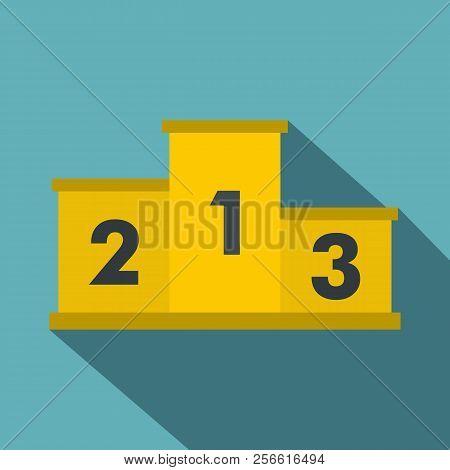 Yellow Podium Winners Icon. Flat Illustration Of Yellow Podium Winners Icon For Web Isolated On Baby