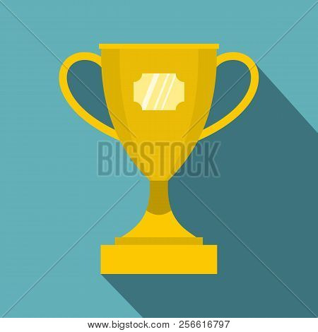 Gold Winner Cup Icon. Flat Illustration Of Winner Cup Icon For Web Isolated On Baby Blue Background