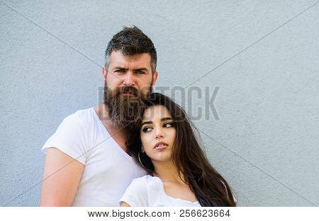 Couple Stylish Young Modern People. Urban Loving Couple. Couple White Shirts Lean Each Other. Hipste