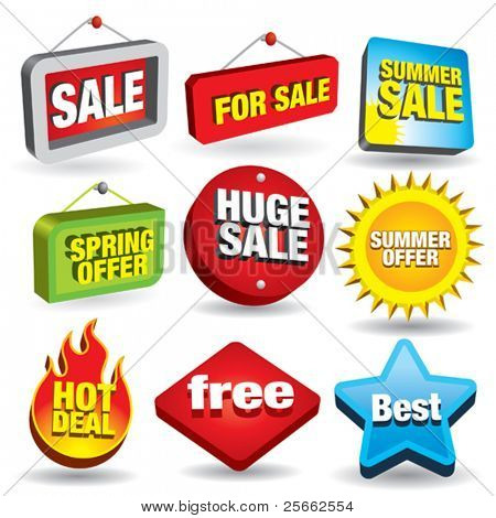 Set of 3d price tags and sale signs.