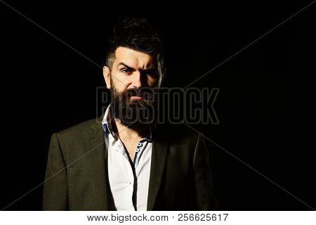 Confidence And Elegance Concept. Businessman With Beard And Spiky Hair. Man In Business Suit With Co