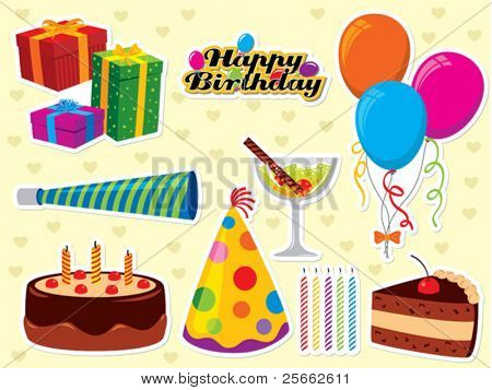 Happy Birthday set. Use to create greeting cards and party invitations.