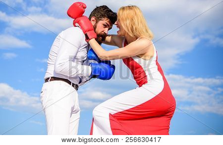 Man And Woman Fight Boxing Gloves Sky Background. Attack Is Best Defence. Couple In Love Boxing. Wom