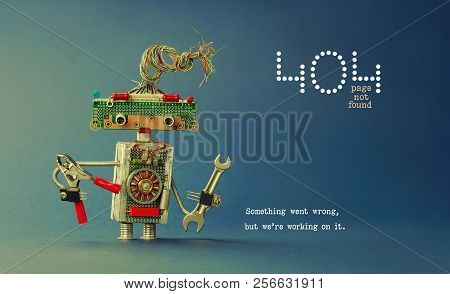 404 Error Page Not Found. Serviceman Robot Hand Wrench Pliers On Blue Background. Text Message Somet
