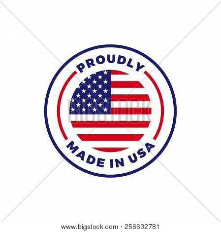 Made In Usa Label Icon With American Flag Seal. Vector Quality Logo Badge For Us Made Certified Prem