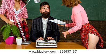 Sexy Education. Bearded Sexology Teacher Looks At Two Sexy Female Students. Erotic Education And Sex