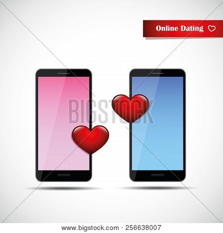 Online Dating App Concept Pink And Blue Smartphones Woman Vector Illustration Eps10