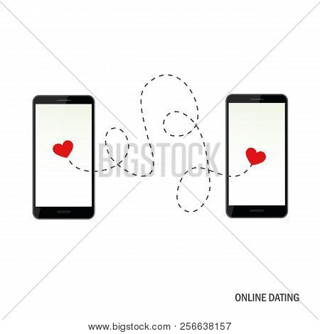 Online Dating App Concept With Two Hearts Vector Illustration Eps10