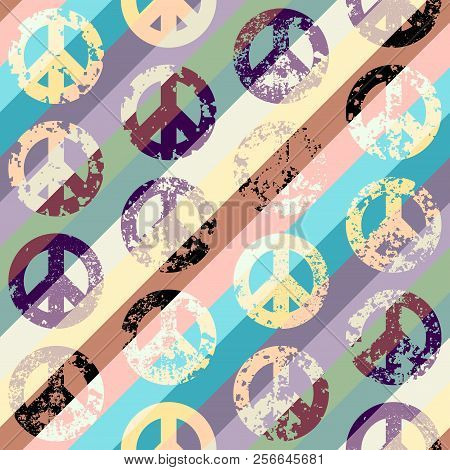 Seamless Vector Pattern. Abstract Background With Peace Signs. The Sign Of Pacifists. Grunge Vintage