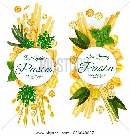 Italian Pasta Posters Of Best Quality Spaghetti, Ravioli Or Penne And Funghetto Macaroni. Vector Des