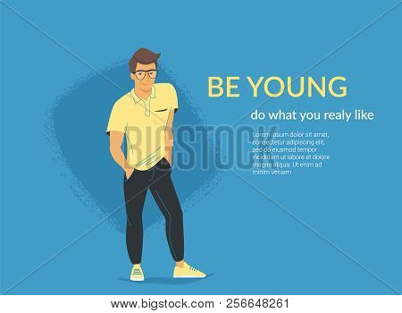Young Student Standing Alone In Casual Pose. Flat Vector Illustration For Website And Landing Page D