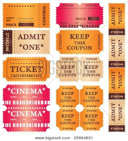 set of vintage tickets with place for text