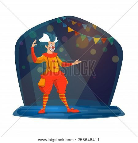Clown With Crazy Hair And Fake Nose Performing On Circus Arena In Ridiculous Outfit. Man With Makeup