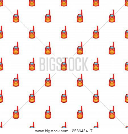 Red Portable Handheld Radio Pattern. Cartoon Illustration Of Red Portable Handheld Radio Pattern For