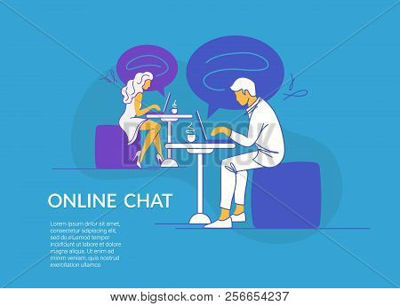 Online Chat Concept Vector Illustration Of Young Couple Sitting At The Tables In Cafe And Using Lapt