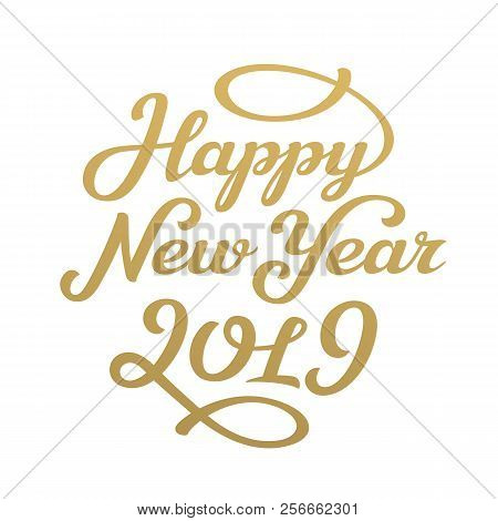Happy New Year 2019 Lettering Greeting Card Design Vector