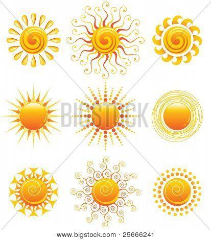 Vektor-Illustration von 9 hellen Sonne-Ikonen