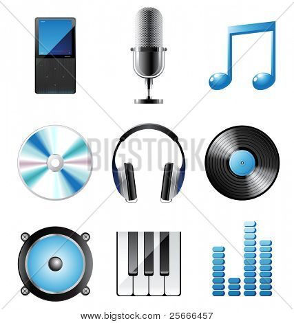 highly detailed music icons set