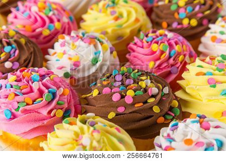 Colorful cup cakes on wooden background, top view.