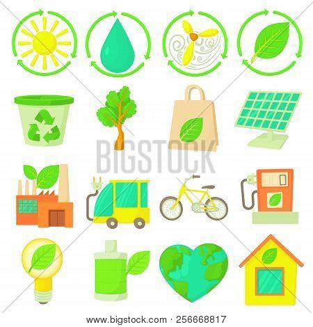 Ecology Items Icons Set. Cartoon Illustration Of 16 Ecology Items Icons For Web