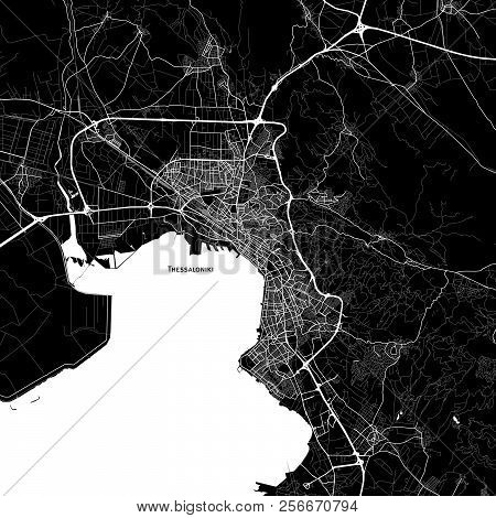 Area Map Of Thessaloniki, Greece. Dark Background Version For Infographic And Marketing Projects.