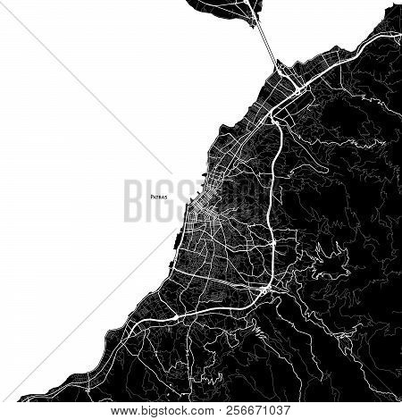 Area Map Of Patras, Greece. Dark Background Version For Infographic And Marketing Projects.