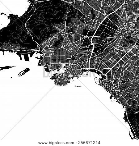 Area Map Of Pireas, Greece. Dark Background Version For Infographic And Marketing Projects.