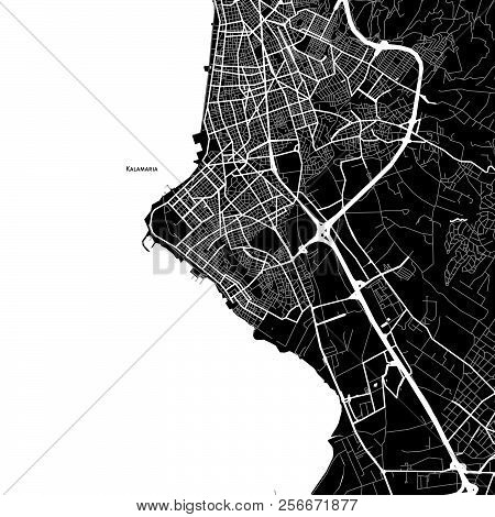 Area Map Of Kalamaria, Greece. Dark Background Version For Infographic And Marketing Projects.