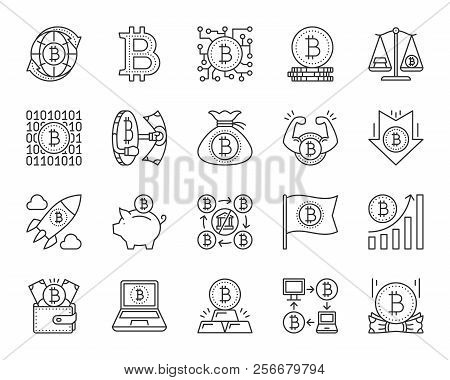 Bitcoin Thin Line Icon Set. Outline Web Sign Kit Of Crypto Currency. Digital Money Linear Icons Of F