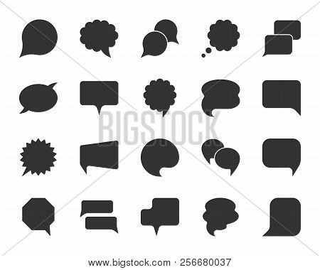 Speech Bubble Icon Set. Web Sign Kit Of Comic Tell. Communication Chat Icons Of Contact Support Medi