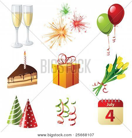 9 highly detailed celebration icons