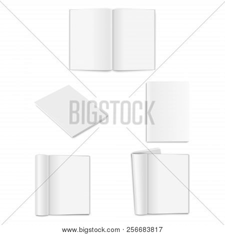 Vector Realistic Empty Paper Closed And Opened A4 Vertical Magazine, Book, Catalog Or Brochure With