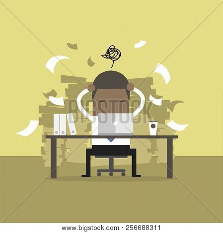 Busy Time Of African Businessman In Hard Working. A Lot Of Work. Stress At Work.