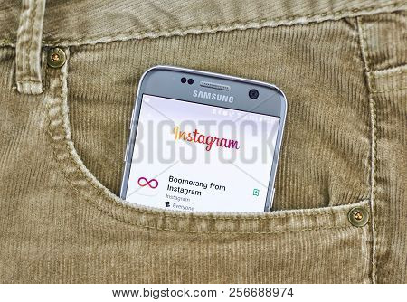 Montreal, Canada - August 10, 2018: Instagram App On A Cellphone Screen In A Jeans Pocket. Instagram