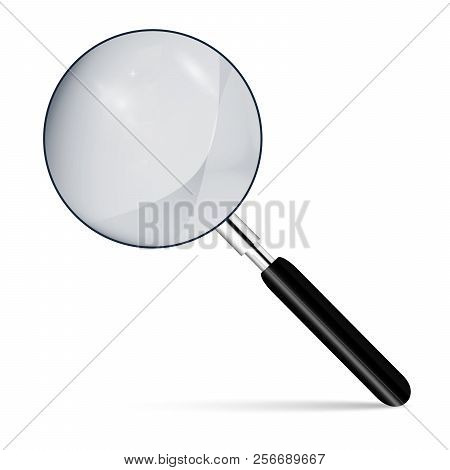 Metal Magnifier With A Dark Handle For Office Concepts. Realistic Magnifying Glass On A  Isolated  B