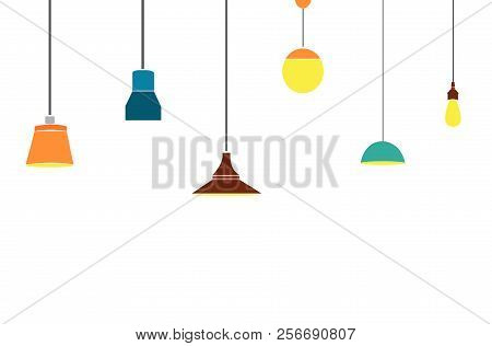A Set Of Electric Lamps. Furniture And Floor Lamps And Table Lamps. Home Interiors Fixtures. Vector
